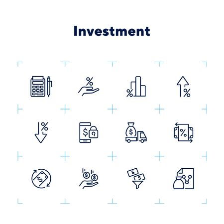 Investment line icon set. Encashment car, income, graph. Money concept. Can be used for topics like finance management, profit, banking Zdjęcie Seryjne - 132552941