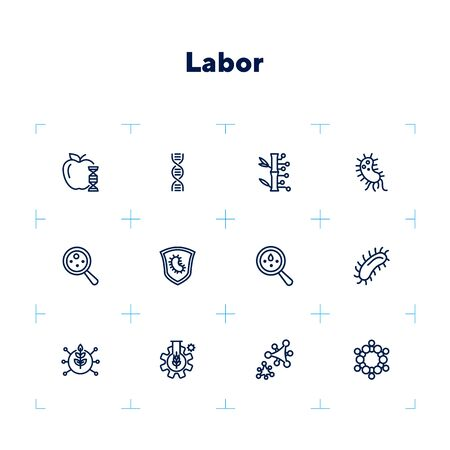 Lab research line icon set. Food, dna, bacteria. Science concept. Can be used for topics like genetics, microbiology, laboratory  イラスト・ベクター素材