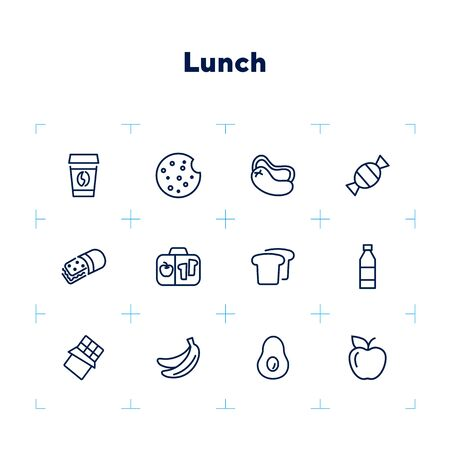 Lunchbox line icon set. Takeaway coffee, bread, fruit, bottle. Food concept. Can be used for topics like lunch, picnic, snack