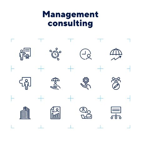 Management consulting line icon set. Office, employee, gear, clock. Business concept. Can be used for topics like analysis, advice, protection