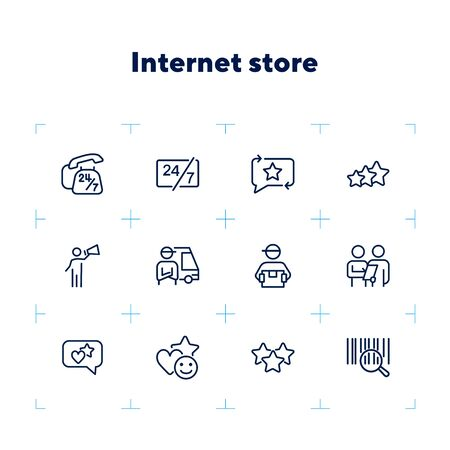 Internet store line icon set. Bar code, courier, like. Online shopping concept. Can be used for topics like customer feedback, delivery, rating Ilustracja