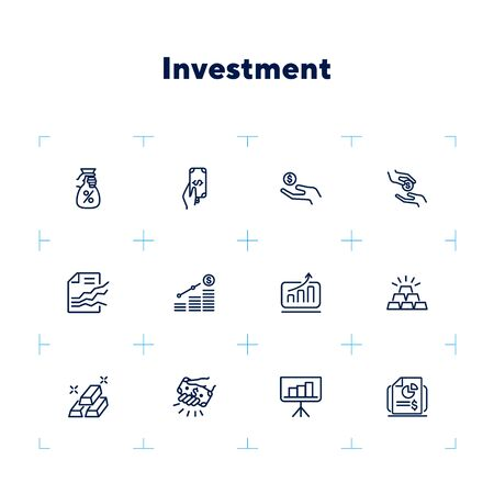 Investment line icon set. Hand holding money, graph, growth, gold bars. Finance concept. Can be used for topics like deposit, saving, income