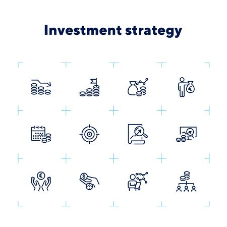 Investment strategy line icon set. Analysis, graph, cash. Finance management concept. Can be used for topics like income, trade, business Zdjęcie Seryjne - 132552879