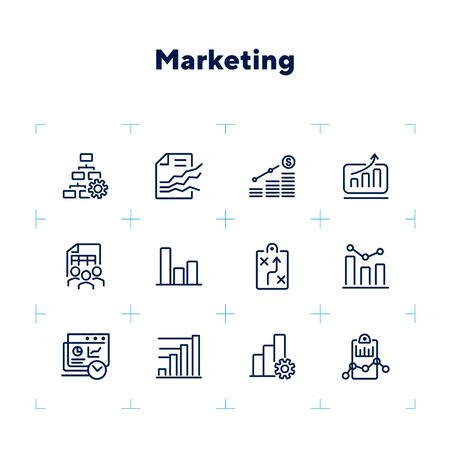 Marketing line icon set. Strategy, project, team. Analysis concept. Can be used for topics like finance management, teamwork, planning
