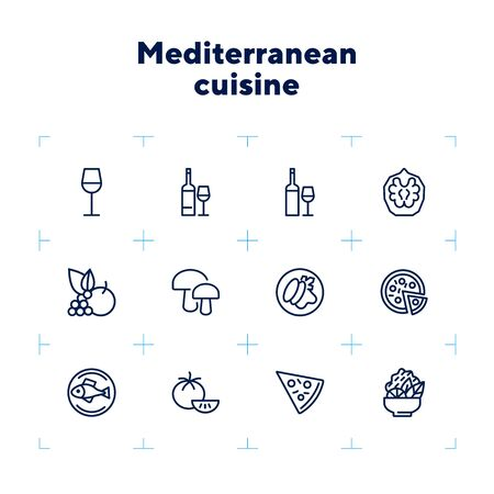 Mediterranean cuisine line icon set. Salad, pizza, tomato. Food concept. Can be used for topics like restaurant, cooking, menu 向量圖像