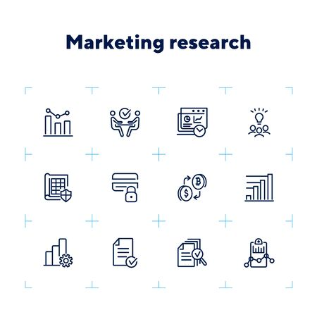 Marketing research line icon set. Graph, meeting, brainstorming. Business concept. Can be used for topics like analysis, startup, finance management Zdjęcie Seryjne - 132552893