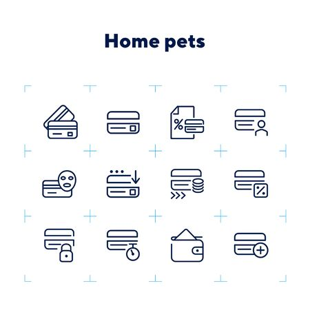 Homebanking line icon set. Set of line icons on white background. Accountancy concept. Purse, percent, credit card. Vector illustration can be used for topics like money, accounting, finance 版權商用圖片 - 132552813