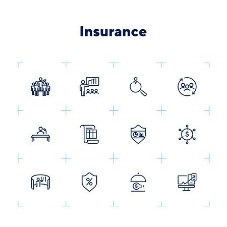 Insurance line icon set. Leadership, presentation, shield. Business concept. Can be used for topics like finance management, consulting, expertise Zdjęcie Seryjne - 132552821