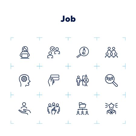 Job line icon set. Best worker, HR, manager. People concept. Can be used for topics like human resource, head hunting, recruitment, employment