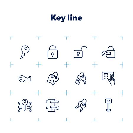 Key line icons. Set of line icons on white background. Safety concept, Key, locker, entry phone. Vector illustration can be used for house, house security, computer programs