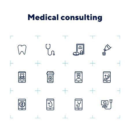 Medical consulting line icon set. Dentist, practitioner, pills. Healthcare concept. Can be used for topics like medicine, online doctor, mobile assistant Ilustracja