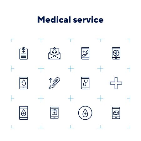 Medical service line icon set. Insurance, online doctor, ambulance call. Healthcare concept. Can be used for topics like practitioner consulting, emergency, help Vectores