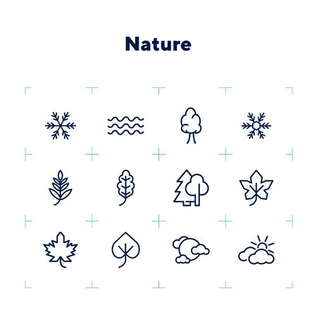 Nature icons. Set of line icons on white background. Wood, snowflake, overcast. Fall concept. Vector illustration can be used for topics like plants, weather, environment Stock Illustratie