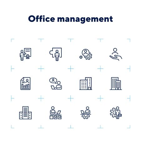 Office management icon set. Line icons collection on white background. Engineer, entrepreneur, building. Development concept. Can be used for topics like business, employment, workplace Ilustracja