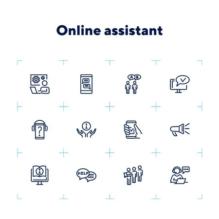 Online assistant line icon set. Operator, communication, technology. Call center concept. Can be used for topics like consulting, web service, helpdesk