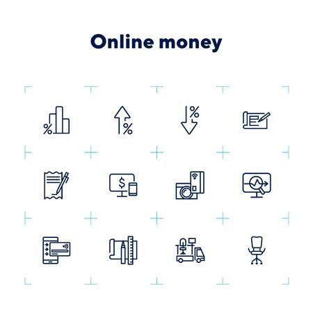 Online money line icon set. Percentage, interest, smartphone, credit card. Business concept. Can be used for topics like finance, loan, startup Banque d'images - 132552497