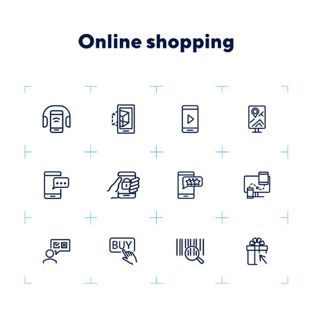 Online shopping icons. Set of line icons. Shop rating, mobile messenger, barcode. Mobile developing concept. Vector illustration can be used for topics like shopping, technology, mobile applications