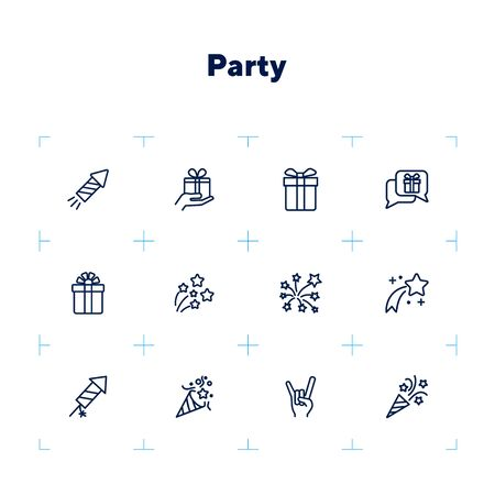 Party line icon set. Crackers, devil horn gesture, gift, firework. Holiday concept. Can be used for topics like celebration, festive event, Christmas, birthday, congratulation, grand opening