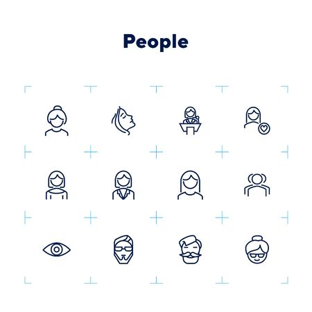 People line icon set. Woman, speaker, hipster. People concept. Can be used for topics like occupation, age, gender