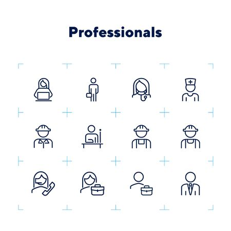 Professionals line icon set. Manager, doctor, engineer. Job concept. Can be used for topics like work, occupation, expertise Ilustracja