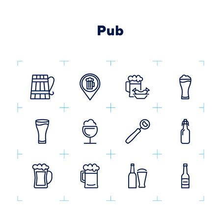 Pub line icon set. Bar location, bottle, beer glass. Beer concept. Can be used for topics like menu, restaurant, bar, alcoholic drink