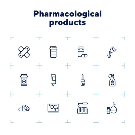 Pharmacological products icon set. Drugstore concept. Vector illustration can be used for topics like apothecary, pharmaceuticals, medicine 일러스트