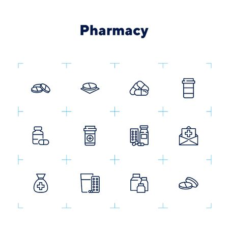 Pharmacy icon set. Drugstore concept. Vector illustration can be used for topics like apothecary, pharmaceuticals, medicine