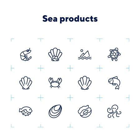 Seafood line icon set. Shrimp, seashell, turtle. Food concept. Can be used for topics like restaurant menu, sea life, fish market