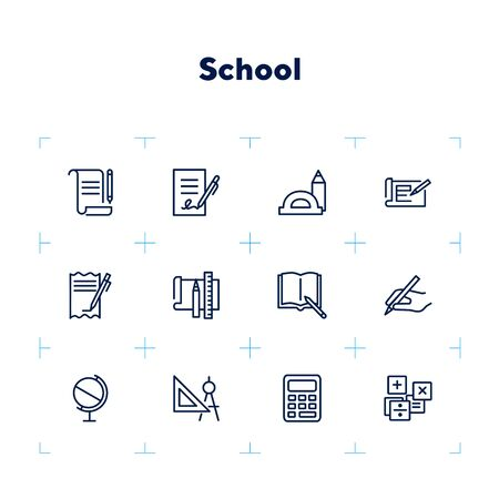 School icons. Set of line icons on white background. Writing, textbook, geometry, geography. Studying concept. Vector illustration can be used for topics like education, learning, stationary 版權商用圖片 - 132473662