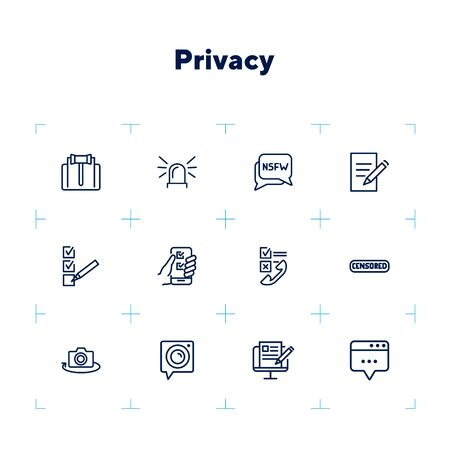 Privacy line icon set. Judge gavel, censored content, camera. Privacy concept. Can be used for topics like personal data, safety, protection Banque d'images - 132552252