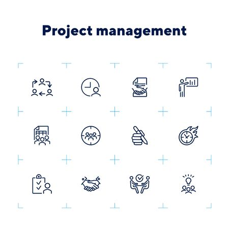 Project management line icon set. Handshake, team, interview. Business concept. Can be used for topics like leadership, teamwork startup Zdjęcie Seryjne - 132552256