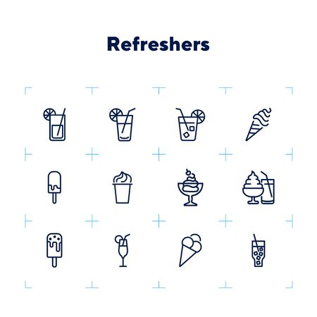 Refreshers line icon set. Cola, ice cream, lemonade. Drink concept. Can be used for topics like cafe, menu, food