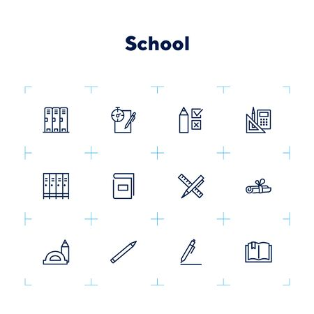 School line icon set. Test, exam, book, pen. Education concept. Can be used for topics like learning, training, college Zdjęcie Seryjne - 132552209