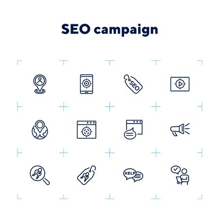 SEO campaign line icon set. Message, searching, technology. Market research concept. Can be used for topics like optimization, marketing, targeting Zdjęcie Seryjne - 132552216