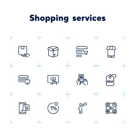 Shopping service line icon set. Order, gift, payment, mobile app. Shopping concept. Can be used for topics like customer support, purchasing, delivery