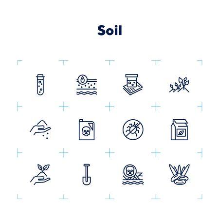 Jeu d'icônes de sol. Collection d'icônes de ligne sur fond blanc. Jardinage, engrais, pesticides. Notion agricole. Peut être utilisé pour des sujets tels que l'agriculture, l'agronomie, la culture