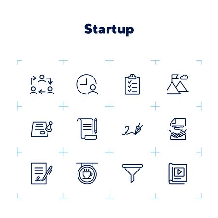 Startup line icon set. Contract, handshake, checklist. Business concept. Can be used for topics like deal, partnership, agreement Zdjęcie Seryjne - 132551980