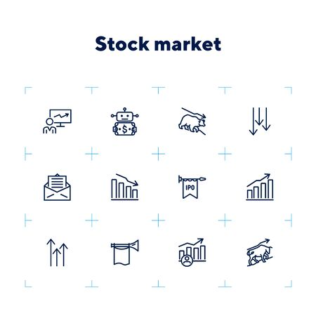 Stock market line icon set. Bear, bull, trader, IPO, charts. Finance concept. Can be used for topics like investment, assets, trading