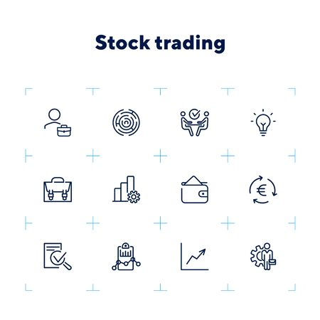 Stock trading line icon set. Investor, broker, businessman. Business concept. Can be used for topics like finance management, investment, exchange market Zdjęcie Seryjne - 132552005