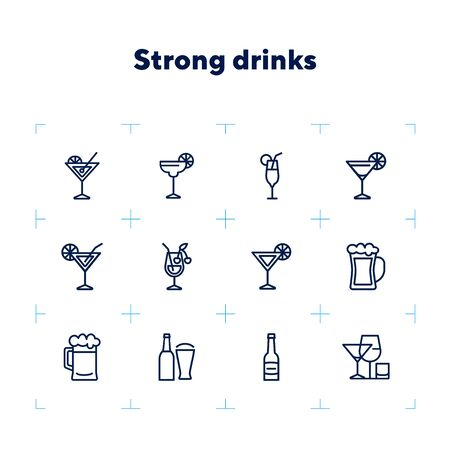 Strong drinks icons. Set of line icons on white background. Beer bottle, martini, margarita cocktail. Alcohol concept. Vector illustration can be used for topic like drinks, bar, menu Ilustracja