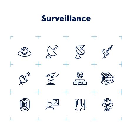 Surveillance line icon set. Camera, satellite dish, fingerprint. Security concept. Can be used for topics like modern technology, protection, access Banque d'images - 132552020
