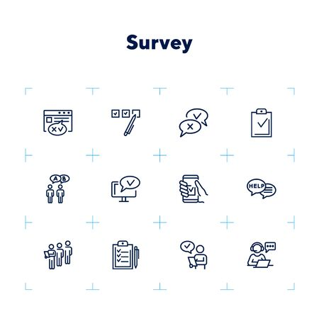 Survey line icon set. Whipping votes, checkmark, questionnaire. Customer assessment concept. Can be used for topics like analysis, research, feedback Zdjęcie Seryjne - 132552021