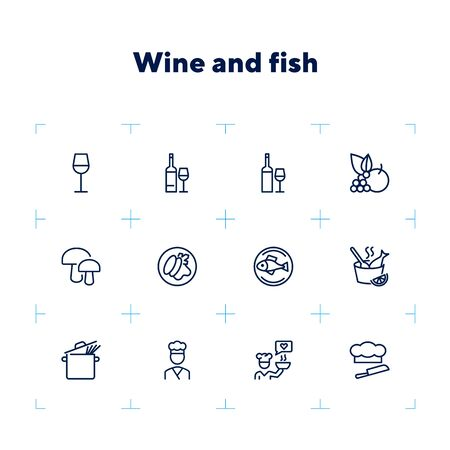Wine and fish icons. Set of line icons on white background. Bottle, fish, mushroom. Restaurant concept. Vector illustration can be used for topics like food, cooking, cafe