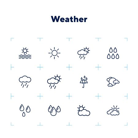 Weather line icon set. Season, nature, water. Climate concept. Can be used for topics like meteorology, outdoor, synoptic Stock Illustratie