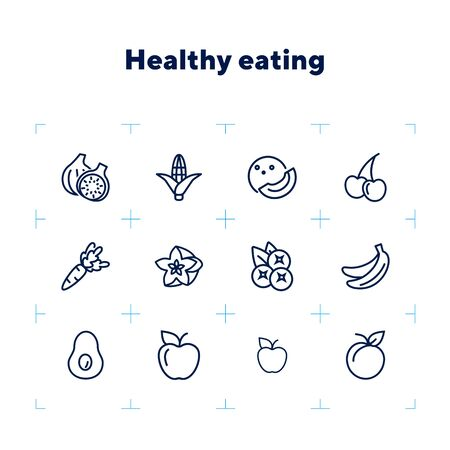 Healthy eating line icon set. Set of line icon on white background. Grocery concept. Apple, avocado, banana. Vector illustration can be used for topics like diet, fitness, grocery store