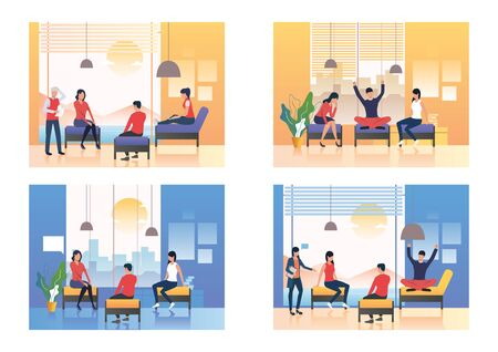 Friendly talks illustration set. People sitting on couches and talking. Communication concept. Vector illustration for landing pages, presentation slide templates Illustration
