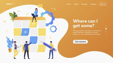 Group of men and women planning work. Schedule, aims, devices. Efficiency concept. Vector illustration can be used for topics like business, work, time management