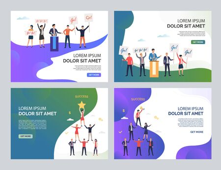 Election team success set. Politician speaking at podium, people holding support placards, forming pyramid. Flat vector illustrations. Teamwork concept for banner, website design or landing web page