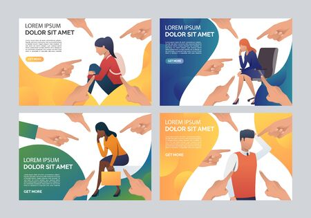 Employee failure set. Business people blaming colleague, pointing fingers. Flat vector illustrations. Failure concept for banner, website design or landing web page