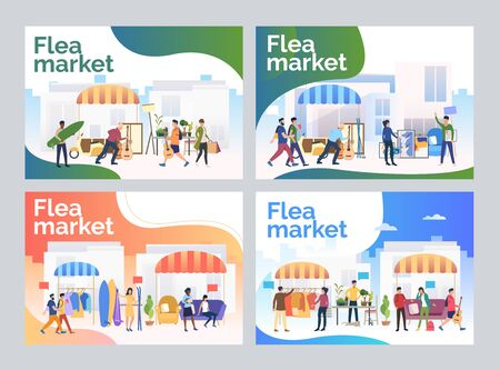 Garage sale set. Shoppers buying goods at flea market. Flat vector illustrations. Shopping concept for banner, website design or landing web page